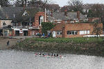 The boathouse, from Chiswick Bridge